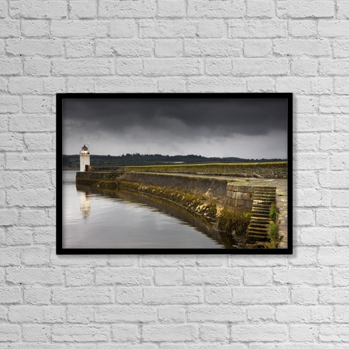 "Printscapes Wall Art: 18"" x 12"" Canvas Print With Black Frame - Lighthouse by John Short"