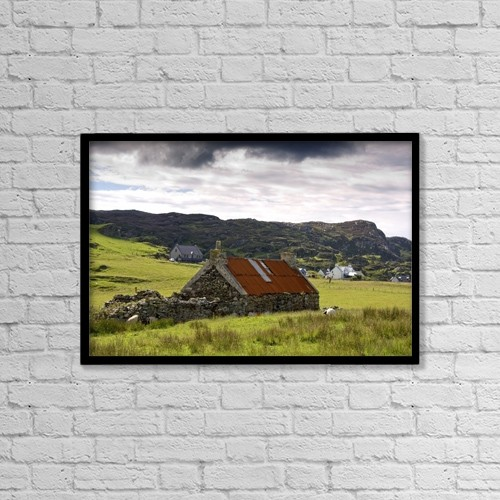 """Printscapes Wall Art: 18"""" x 12"""" Canvas Print With Black Frame - Isle Of Colonsay, Scotland by John Short"""