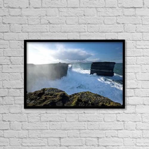 "Printscapes Wall Art: 18"" x 12"" Canvas Print With Black Frame - Downpatrick Head, Co Mayo, Ireland by Gareth McCormack"