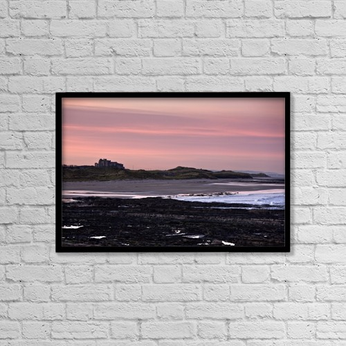 "Printscapes Wall Art: 18"" x 12"" Canvas Print With Black Frame - Seashore At Sunset, Northumberland, England by John Short"