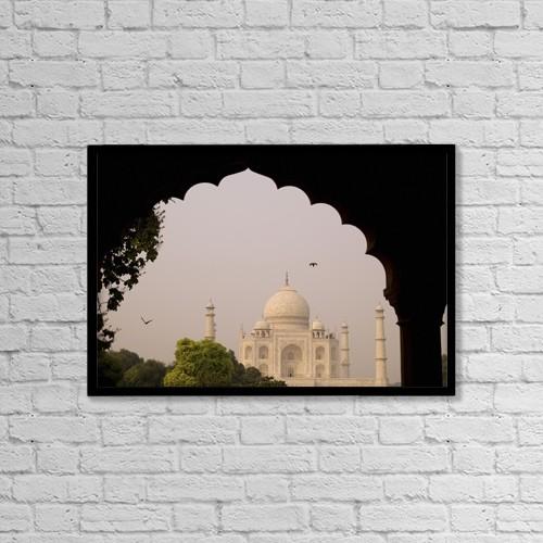 "Printscapes Wall Art: 18"" x 12"" Canvas Print With Black Frame - Taj Mahal, Agra, Uttar Pradesh, India by Keith Levit"