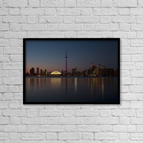 "Printscapes Wall Art: 18"" x 12"" Canvas Print With Black Frame - Toronto Skyline On September 2008 by Alan Marsh"
