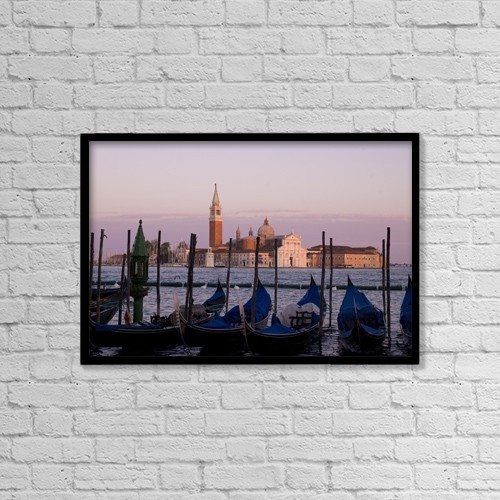 "Printscapes Wall Art: 18"" x 12"" Canvas Print With Black Frame - Gondolas On Canal, Church Of St by Keith Levit"