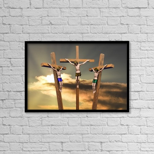 """Printscapes Wall Art: 18"""" x 12"""" Canvas Print With Black Frame - Jesus And The Two Thieves On The Cross by John Short"""