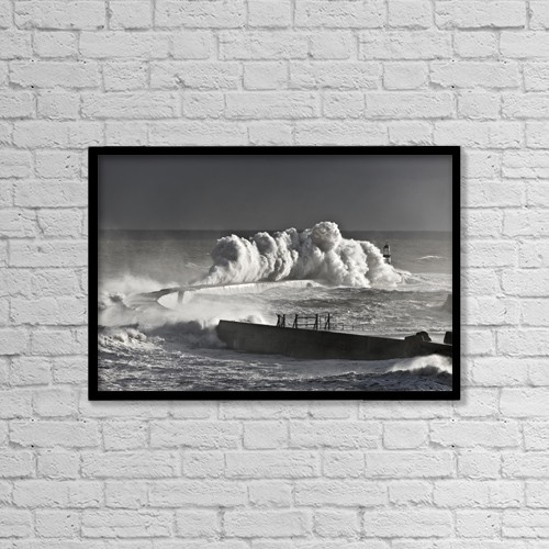 "Printscapes Wall Art: 18"" x 12"" Canvas Print With Black Frame - Seaham, England; Stormy Waves Pounding Seawall by John Short"