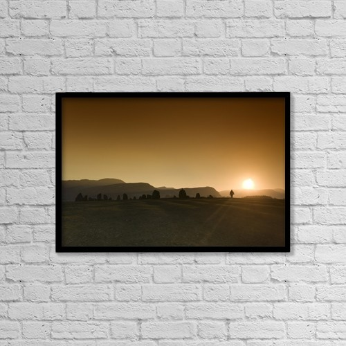"Printscapes Wall Art: 18"" x 12"" Canvas Print With Black Frame - Cumbria, England; Sunset Over Field by John Short"