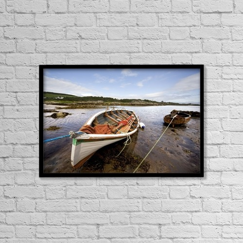 "Printscapes Wall Art: 18"" x 12"" Canvas Print With Black Frame - Ardminish, Isle Of Gigha, Scotland by John Short"