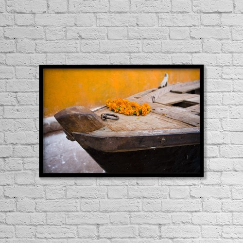 "Printscapes Wall Art: 18"" x 12"" Canvas Print With Black Frame - Flowers On Top Of Wooden Canoe by David DuChemin"