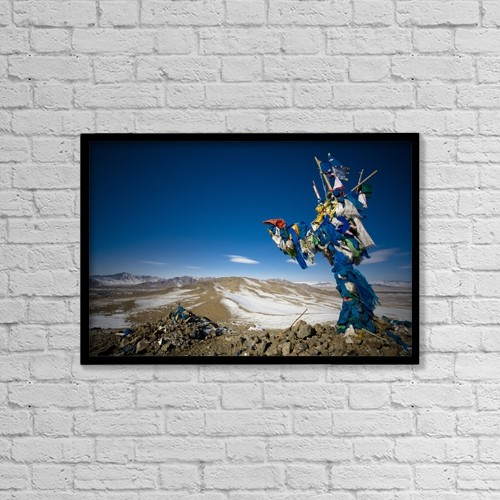 "Printscapes Wall Art: 18"" x 12"" Canvas Print With Black Frame - Mongolia; Prayer Flags Outside Ulaanbaatar by David DuChemin"