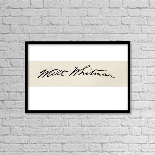 "Printscapes Wall Art: 18"" x 12"" Canvas Print With Black Frame - Signature Of Walt Whitman, 1819-1892 by Ken Welsh"