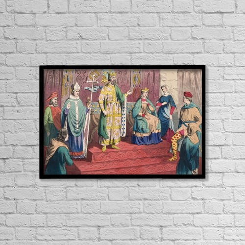 """Printscapes Wall Art: 18"""" x 12"""" Canvas Print With Black Frame - English Costumes Of The 13Th Century by Ken Welsh"""