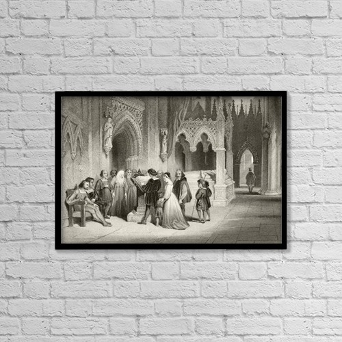 """Printscapes Wall Art: 18"""" x 12"""" Canvas Print With Black Frame - Reading The Bible In The Crypt Of St by Ken Welsh"""