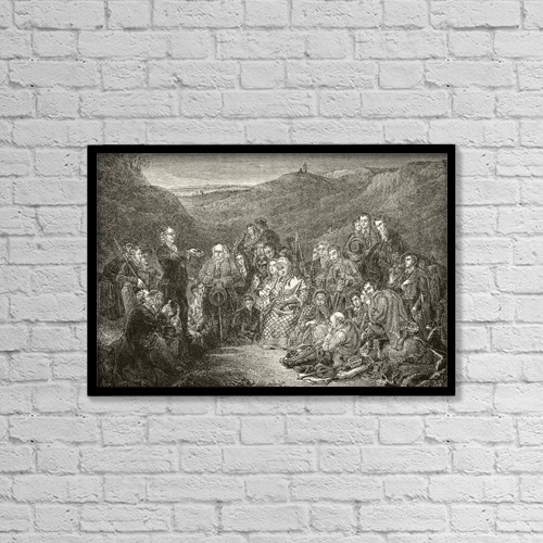 "Printscapes Wall Art: 18"" x 12"" Canvas Print With Black Frame - An Open Air Meeting Of Scottish Covenanters by Ken Welsh"