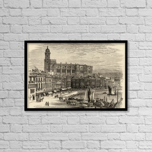 "Printscapes Wall Art: 18"" x 12"" Canvas Print With Black Frame - Malaga, Spain by Ken Welsh"
