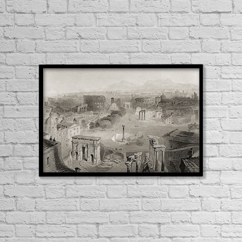 """Printscapes Wall Art: 18"""" x 12"""" Canvas Print With Black Frame - Ancient Rome From The Capitoline Hill, Italy by Ken Welsh"""