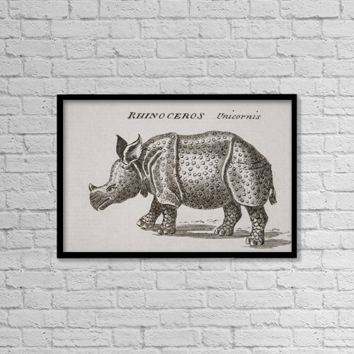 "Printscapes Wall Art: 18"" x 12"" Canvas Print With Black Frame - Rhinoceros, Unicornis by Ken Welsh"