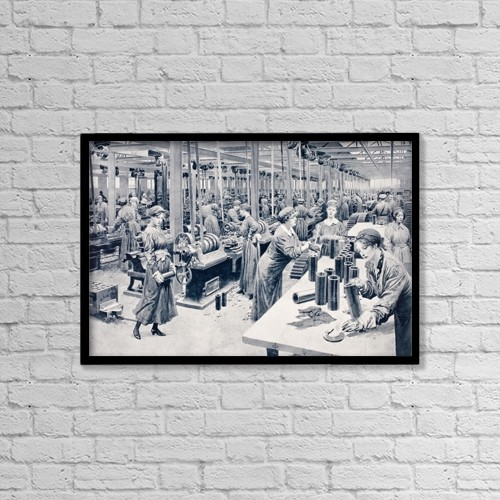 "Printscapes Wall Art: 18"" x 12"" Canvas Print With Black Frame - Women Working In Munitions Factory 1915 by Ken Welsh"