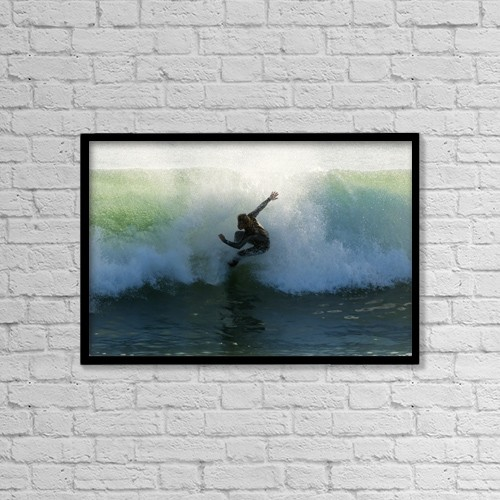 """Printscapes Wall Art: 18"""" x 12"""" Canvas Print With Black Frame - Surfer Catching A Wave by Ben Welsh"""