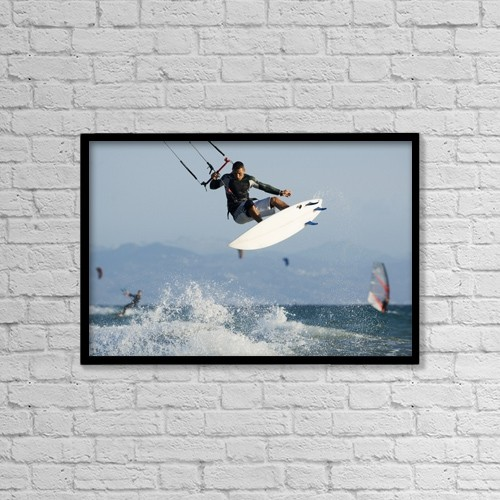 "Printscapes Wall Art: 18"" x 12"" Canvas Print With Black Frame - Man Parasurfing On Ocean by Ben Welsh"