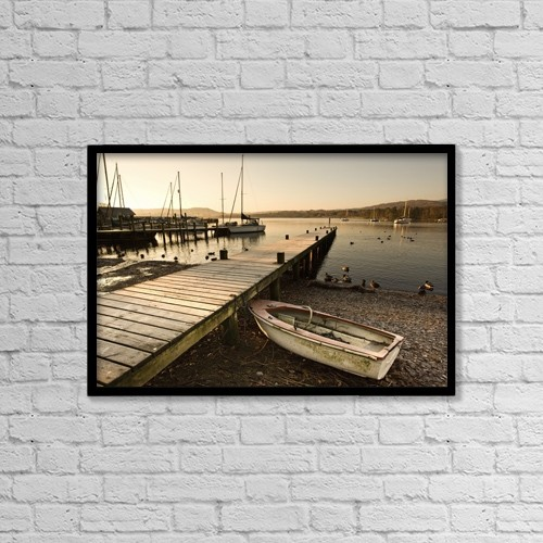"Printscapes Wall Art: 18"" x 12"" Canvas Print With Black Frame - Ambleside, Cumbria, England; Harbor by John Short"