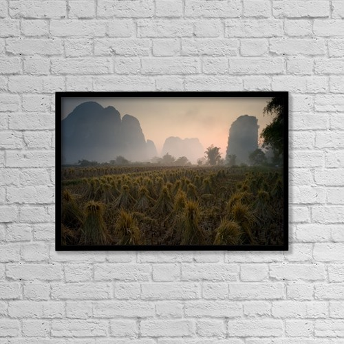 "Printscapes Wall Art: 18"" x 12"" Canvas Print With Black Frame - Bundles In Mountain Area; Yangshuo, China by Keith Levit"