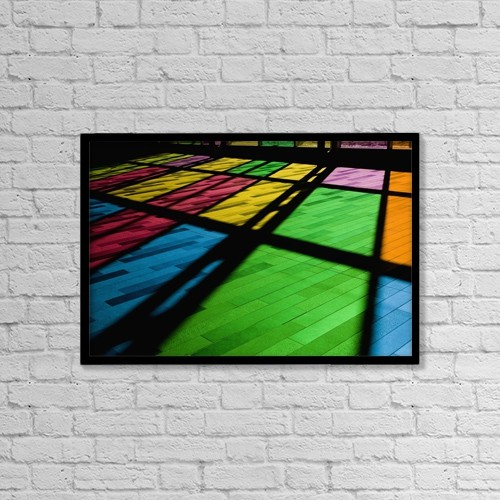 "Printscapes Wall Art: 18"" x 12"" Canvas Print With Black Frame - Colorful Windows by David Chapman"