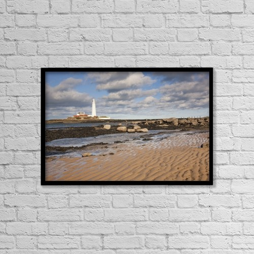 "Printscapes Wall Art: 18"" x 12"" Canvas Print With Black Frame - Lighthouse, Northumberland, England by John Short"