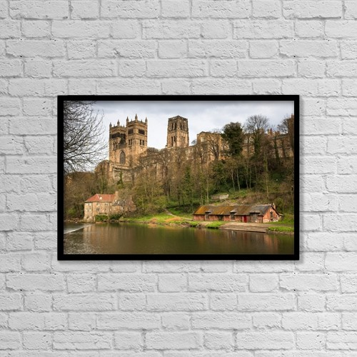 "Printscapes Wall Art: 18"" x 12"" Canvas Print With Black Frame - Durham Cathedral; Durham, England by John Short"