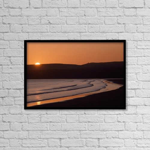 "Printscapes Wall Art: 18"" x 12"" Canvas Print With Black Frame - Seashore Sunset by The Irish Image Collection"