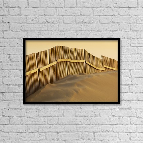 """Printscapes Wall Art: 18"""" x 12"""" Canvas Print With Black Frame - Fence On Beach by Ben Welsh"""
