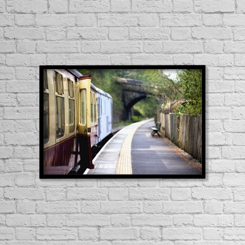 "Printscapes Wall Art: 18"" x 12"" Canvas Print With Black Frame - Train Platform by John Short"