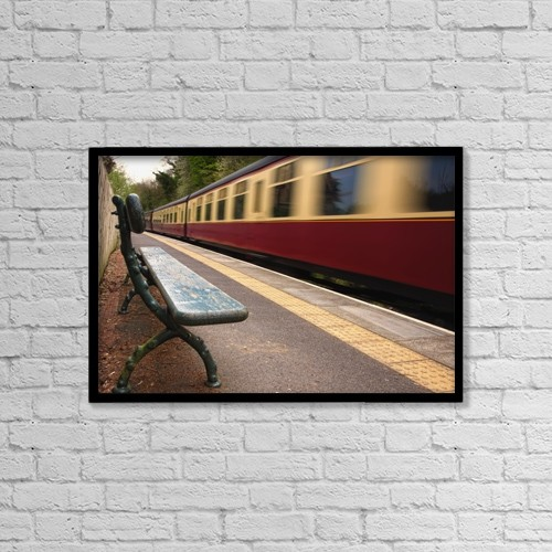 "Printscapes Wall Art: 18"" x 12"" Canvas Print With Black Frame - Speeding Passenger Train; Yorkshire,England by John Short"