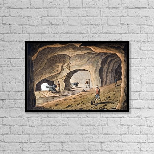 """Printscapes Wall Art: 18"""" x 12"""" Canvas Print With Black Frame - Inside A Gallery On The Rock Of Gibraltar by Ken Welsh"""