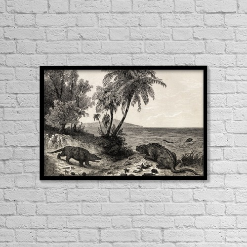 """Printscapes Wall Art: 18"""" x 12"""" Canvas Print With Black Frame - Chalk-Age Landscape. Print From The 1870's by Ken Welsh"""