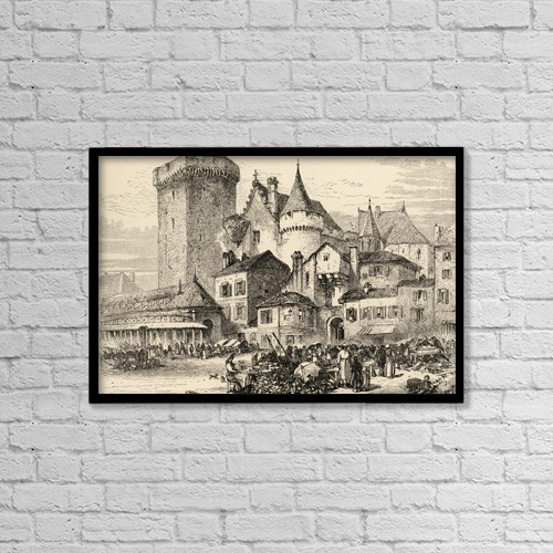 "Printscapes Wall Art: 18"" x 12"" Canvas Print With Black Frame - Angouleme, France by Ken Welsh"