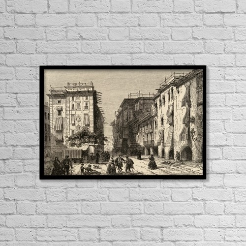 "Printscapes Wall Art: 18"" x 12"" Canvas Print With Black Frame - Street In Barcelona, Spain by Ken Welsh"