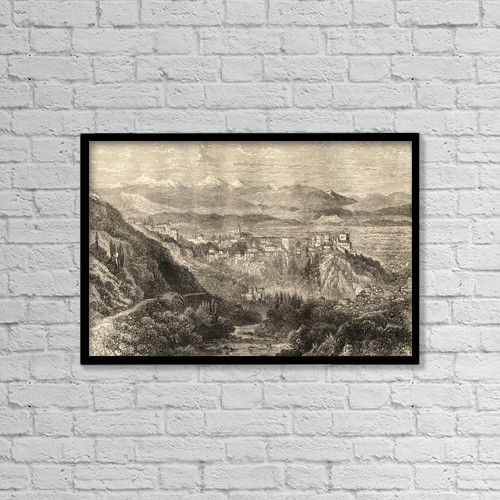 """Printscapes Wall Art: 18"""" x 12"""" Canvas Print With Black Frame - The Alhambra And General View Of Granada Spain by Ken Welsh"""