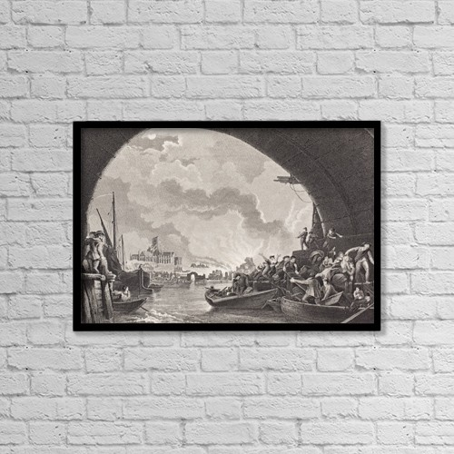 """Printscapes Wall Art: 18"""" x 12"""" Canvas Print With Black Frame - The Great Fire Of London 1666 by Ken Welsh"""