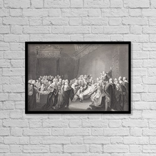 """Printscapes Wall Art: 18"""" x 12"""" Canvas Print With Black Frame - Death Of Chatham by Ken Welsh"""