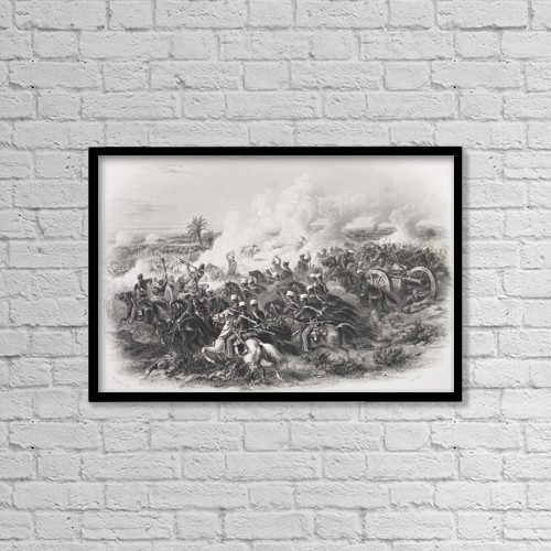 "Printscapes Wall Art: 18"" x 12"" Canvas Print With Black Frame - The Battle Of Moodkee India 1845 by Ken Welsh"