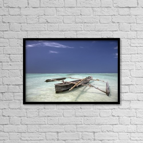 "Printscapes Wall Art: 18"" x 12"" Canvas Print With Black Frame - Zanzibar, Africa; Dhow In The Water by Chris Upton"