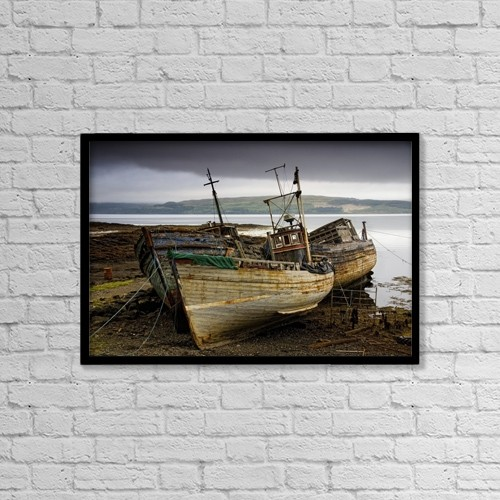 "Printscapes Wall Art: 18"" x 12"" Canvas Print With Black Frame - Scotland; Three Boats On Shore by John Short"