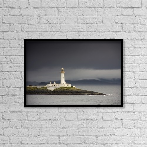 "Printscapes Wall Art: 18"" x 12"" Canvas Print With Black Frame - A Lighthouse by John Short"