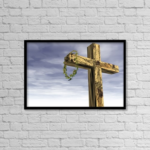 """Printscapes Wall Art: 18"""" x 12"""" Canvas Print With Black Frame - Religious Symbol; The Cross And Crown Of Thorns by Paul Sale"""