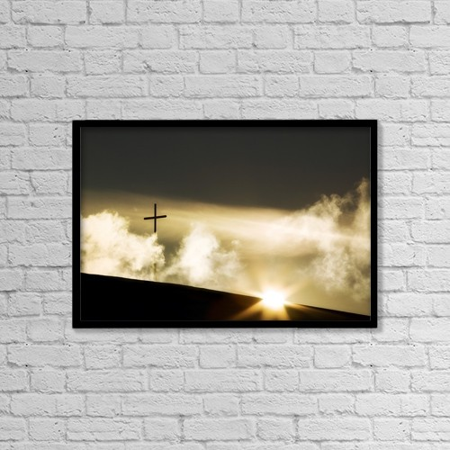 """Printscapes Wall Art: 18"""" x 12"""" Canvas Print With Black Frame - Christian Faith by Chris and Kate Knorr"""