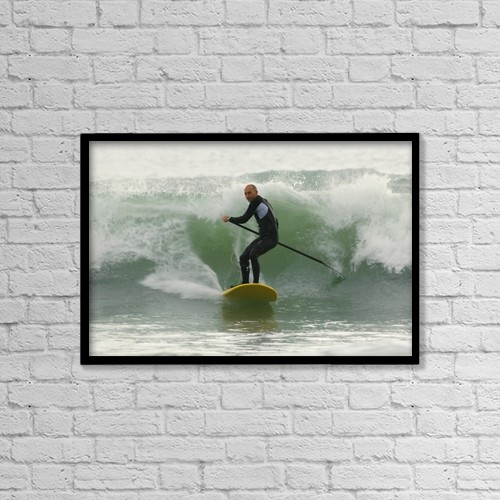 "Printscapes Wall Art: 18"" x 12"" Canvas Print With Black Frame - Surfer Catching A Wave by Ben Welsh"