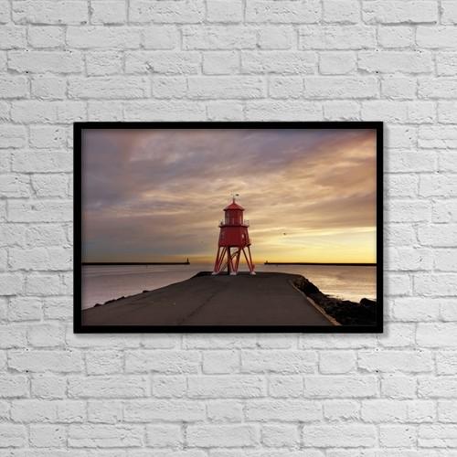 "Printscapes Wall Art: 18"" x 12"" Canvas Print With Black Frame - Groyne Lighthouse by John Short"