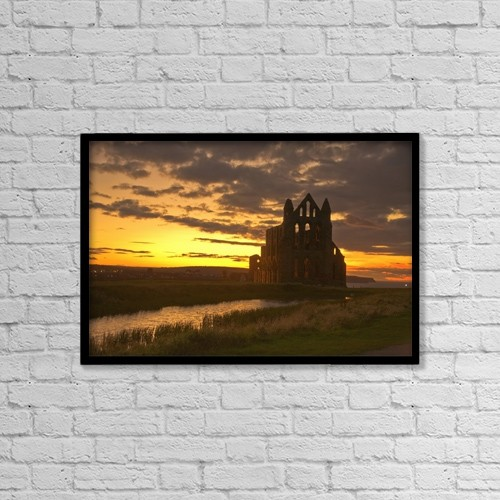 """Printscapes Wall Art: 18"""" x 12"""" Canvas Print With Black Frame - Scenic View Of A Building At Dusk by John Short"""