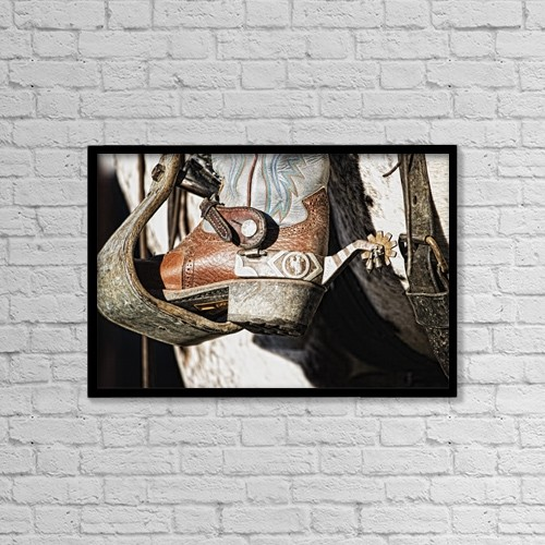 "Printscapes Wall Art: 18"" x 12"" Canvas Print With Black Frame - Cowboy Boot Heel And Spur In Saddle Stirrup by Carson Ganci"