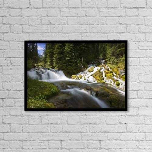 "Printscapes Wall Art: 18"" x 12"" Canvas Print With Black Frame - Scenic View Of A Stream by Carson Ganci"